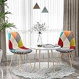 VADIM Lot de 2 chaises de Salle à Manger en Patchwork, chaises de Salon, fauteuils Multicolores avec Dossier en Lin, Tissu et Bois, Style Pieds en métal, Multicolore (chaises de Salle à Manger 2)