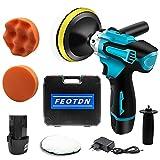 FEOTDN Polisseuse sans fil 12 V - Kit d'outils de polissage pour voiture - Batterie Li-ion 2,0 Ah et poignée latérale - Vitesse variable - Patins de polissage