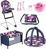 Bayer Design 61769AB Ensemble 9 en 1 pour des poupées avec une chaise haute, un sac, une assiette avec couverts et gobelet, un tapis d'éveil, un lit de voyage, accessoires poupon, bleu rose étoiles
