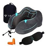 ViKotex Coussin de voyage en mousse à mémoire de forme souple et confortable avec fonction support ergonomique pour avion, voiture, maison et bureau Gris gris taille unique
