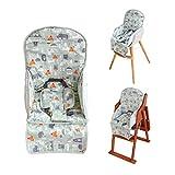 Amcho Coussin de chaise haute respirant avec sangle de sécurité confortable, motif mignon doux et confortable (motif animal vert)