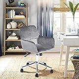 Yata Home Chaise Ergonomique scandinave Chaise de Bureau Fauteuil Chaise d'ordinateur Meubles en Velours Métal Chromé Hauteur Réglable Pivotante 360 Degrés Gris