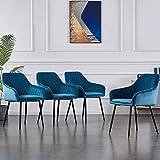 JYMTOM Lot de 4 Chaises en Velours au Style Moderne avec Dossier et Accoudoirs et Des Pieds en Métal (Bleu Claire)
