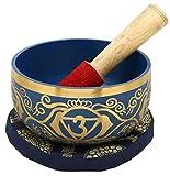 6e Chakra Ajna Ou Brow Ou troisième oeil Indigo bouddhistes Singing Bowl For Meditation, 5 pouces