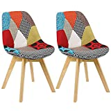 N/A Lot de 2 chaises de salle à manger tapissées patchwork rétro salle à manger cuisine chambre chaise de bureau (avec pieds en hêtre massif)