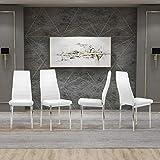 GOLDFAN Ensemble de 4 chaises de Cuisine Modernes avec Pieds en PU et chromés pour la Maison et Le Bureau, (Blanc)