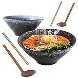 YTLEMON 2X Bol De Ramen en Japonaise, Bol De Céréales en Céramique, 9in /1350 ML, avec Baguettes et Cuillère, Bols à Céréales pour la Cuisine à Domicile, Grand Saladier pour Asiatiques Udon