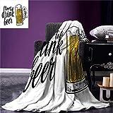 LILANG Couverture de Style de Vie Chaud Jeter Couverture Temps de Boire de la bière Citation avec Une Main d'homme Tenant la Tasse de Pain grillé 150x200cm