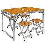 AMANKA Table de Camping Portable | Table + 4 Tabourets | Pliante en Mallette | Table de Pique-Nique | Réglable en Hauteur |Aluminium et Bois de Bambou | env 110x70cm