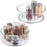 mDesign plateau tournant pour épices, condiments, etc. (lot de 2) – rangement de cuisine en plastique – carrousel cuisine pour placard, réfrigérateur ou plan de travail – transparent