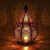 Gadgy ®Lanterne Marocaine Decoration Orientale l Soutient Bougies et Lumières électriques l photophore Intérieur et Extérieur l Résistant au Vent l Lampe Marocain Arabe l 36 x 21,5 cm.