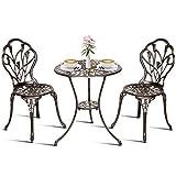 Goplus Ensemble Bistrot pour Jardin en Fonte Aluminium Stable et Robuste Couleur Bronze Livré avec 1 Table et 2 Chaise Motif-59,5 x 67,5cm-46,5 x 43 x 86cm