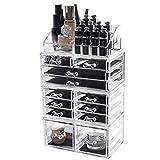 D4P Display4top Organisateur Maquillage Acrylique Boîte à Bijoux Transparent Rangement de Maquillage Pinceaux (12 Tiers Tiroirs Transparent)