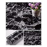 JLCorp Papier peint autocollant effet marbre blanc gris 41 cm x 200 cm, noir