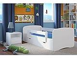 LIT ENFANT 70 CM x 140 CM AVEC BARRIERE DE SECURITE + SOMMIER + TIROIRS + MATELAS OFFERT ! – BLANC