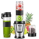 Mini Blender Multifonctionnel 500W, Yabano 3 en 1 Mixeur Smoothie Blender & Hachoir à Viande/Légumes & Moulin à Café/Graines/Poivre/Épices avec 2 Récipients 0.6L&0.3L sans BPA et 4 Lames en Acier Inox