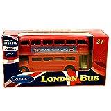 Londres Double Decker Red Bus Mini modèle avec Action Pull Back & Go en métal moulé sous pression et pièces en plastique