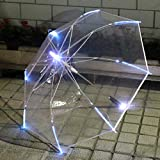 YYouRuiSpot Wholesale LED Colorful Transparent Luminous Umbrella Long Handle Female Net Red Umbrella Flashlight Light Umbrella Custom Logo