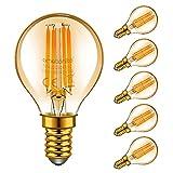 Emotionlite E14 LED Ampoules, Ampoules à incandescence à LED, 4W (Equivalent 40W), E14 Candélabre, Ambre Glow, 2200K, Paquet de 6 (P45 2200K)