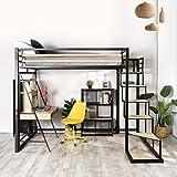 FURNISH 1 Lit Mezzanine Adulte en métal Noir et Effet Transfert Bois avec sommier tapissier + échelle MDF + Rangement-Matelas 140x200cm exclus