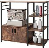 lcy Rack avec 1 Cabinet de Cuisine Baker et 8 Crochets, Micro-Ondes Support, 4 Niveau Cuisine Stockage Panier, Utilitaire Armoire de Rangement avec Metal Frame, Coffee Bar