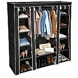 TecTake Armoire de Rangement en Tissu Triple à vêtements Dressing penderie & Tringle Noir