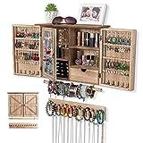 QILICZ Armoire à bijoux murale avec crochet de rangement et barre de bracelet amovible pour colliers, boucles d'oreilles, bagues, bracelets et montres