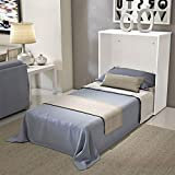 Shop Chic - Meuble de lit escamotable simple couleur blanc ouvrable pliable en bois de peuplier muni de roulettes avec sommier à lattes et matelas haute densité épaisseur 10 cm