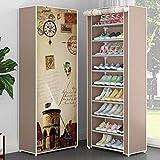 NSYNSY Meuble à Chaussures pour Meubles, Armoire de Rangement en Toile de Tissu sur 10 Niveaux avec Couvercle Anti-poussière, capacité de Stockage pouvant accueillir jusqu'à 30 Paires de Chaussures