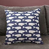 Taies d'oreillers Dh4036 Double-sided pillow home sofa cushion girl cute car bedside backrest lumbar pillow cushion cover square backrest-45*45 (pillowcase plus pillow core)_Double-sided blue whale C