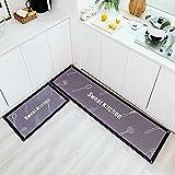 OPLJ Tapis de Cuisine Porte Tapis de Porte d'entrée Couloir Couloir de Chambre géométrique Noir et Blanc Tapis imperméable et résistant à l'huile A13 50x80cm + 50x160cm