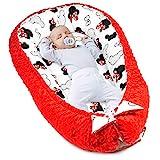 Amazinggirl réducteur lit bébé - Matelas Cocoon cale Bebe pour lit Baby Nest Coton avec Minky (Minky Rouge avec Motif Souris Blanche et Rouge, 90 x 50 cm)
