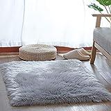 YIHAIC Peau de Mouton synthétique,Cozy Sensation comme véritable Laine Tapis en Fourrure synthétique, Man-Made Laine Tapis de Canapé Coussin (Gris, 75_x_120_cm)