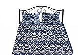 Couvre-lit indien traditionnel imprimé ikat vintage fait à la main Kantha Couvre-lit bohème Housse de canapé réversible en coton Décoration Art (Bleu, California King 208108 cm avec housse de coussin)