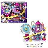 Polly Pocket Pollyville coffret Parc d'Attractions Arc-En-Ciel, mini-figurines Polly, Shani et 2licornes, 25accessoires inclus, jouet pour enfant, HBT13