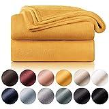 Blumtal - Couverture Polaire 150 x 200 - Plaid Jaune - Plaid pour Canapé - Plaid Cocooning - Couverture Polaire Epaisse, Moelleuse, Douce Et Chaude - Haute Qualité