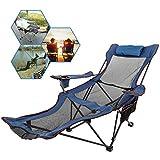 Ukiki Chaise de Camping Pliante avec Repose Pieds Chaise Longue en Résille avec Porte Tasse Sacde Rangement pour Camping Pêche et Activités de Plein Air (Bleu)