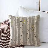 Housse de coussin carrée décorative sur Aspen ou Bouleau, motif arbre de nature, troncs gris, paysage, textures décoratives en lin, 50,8 x 50,8 cm pour canapé, chambre à coucher, banc de voiture