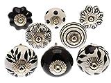 knoa - Lot de 8boutons pour portes d'armoire, tiroirs et commodes, Noir et blanc monochrome