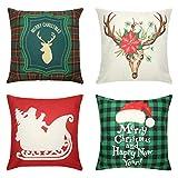 Tensphy Lot de 4 Housse de Coussin de Noël, taies d'oreiller décoratives en Lin de Coton, Housse de Coussin de canapé de Noël pour la Maison taie d'oreiller carrée à glissière de Noël-18 * 18 Pouces