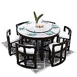 MKMKT Table à Manger, Table à Manger en marbre et Ensemble de chaises Ensemble de 9 pièces Table à Manger Ronde avec Meubles de Cuisine à Plateau tournant 130cm / 150cm,Noir,130cm Table 6 Chairs