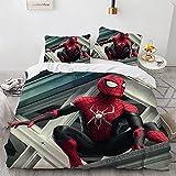 Spiderman Housses De Couettes 135X200 Cm Polyester-Coton Parures De Lit 3 Pièces Impression 3D Housse De Couette 1 Personne avec Deux Taies d'oreiller 50X70Cm