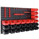 Deuba - Etagère murale avec bacs à bec - Etagère d'atelier Armoire à outils 45 pièces 28 boites noir et rouge - 10,5x7,5x16,5cm - Modulable Extensible - atelier, garage, bricolage