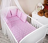 Tour de lit tour de lit bébé 210cm Motif: Petits Pois rose Tour de lit Protection des Bords Protection de la tête pour lit bébé équipement de lit