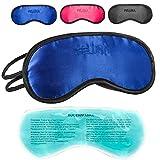 Masque de sommeil avec oreiller rafraîchissant pour les yeux Lunettes de couchage avec bande élastique réglable et sensation de soie L'oreiller rafraîchissant aide contre les migraines (Bleu)