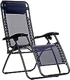 Amazon Basics Chaise de camping pliable zéro gravité Bleu