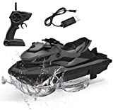 Iwinna Remote Control Motor Boat,High Speed Jet-Ski Electrical Rechargeable 2.4G Radio RC Anti-Collision Toys Speed Ship 1/14 Model Motorboat Rc Boat for Pool Lake Boys Girls Gift (Gray)