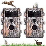 2 Pièces Caméra de Chasse, 20MP Photo 1080P Video Camera de Surveillance, avec Capteur de Mouvement, 36pcs IR LEDs Infrarouge 70ft Vision Nocturne, IP66 Étanche et 2.4' Écran LCD