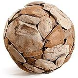 Meubletmoi Boule Sculpture 40 cm en Teck recyclé - Objet décoratif Artisanal Exotique - Ball