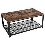 VASAGLE Table Basse au Design Industriel avec Grand Plateau, Pieds réglables, Protection du Sol, Armature en métal - Stable - Facile à Monter